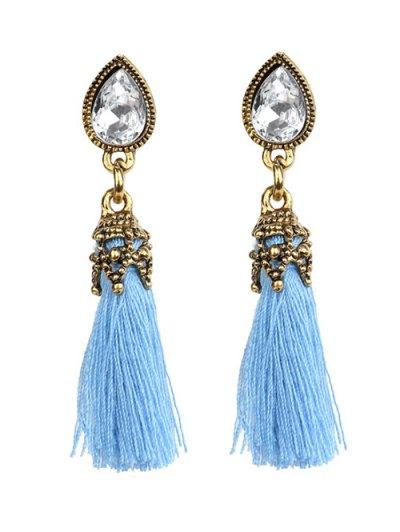 Rhinestone Tassel Water Drop Earrings - BLUE  Mobile