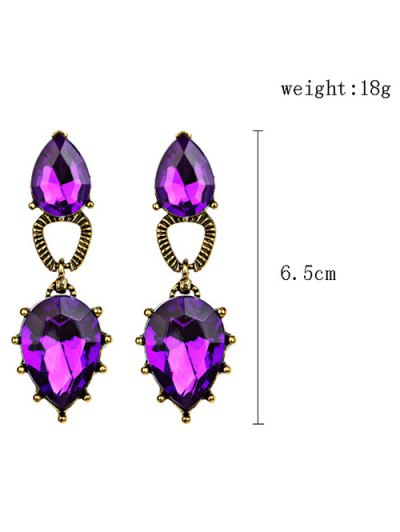 Faux Gem Water Drop Earrings - PURPLE  Mobile
