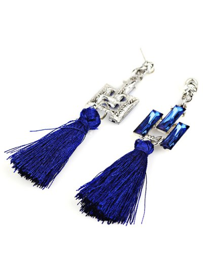 Tassel Faux Crystal Dangle Earrings - BLUE  Mobile