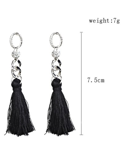 Rhinestone Tassel Dangle Earrings - BLACK  Mobile
