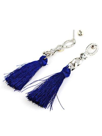 Rhinestone Tassel Dangle Earrings - BLUE  Mobile