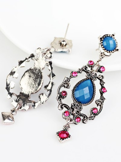 Rhinestone Water Drop Hollowed Earrings - BLUE  Mobile
