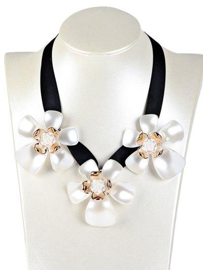 Floral Faux Gem Necklace - WHITE  Mobile