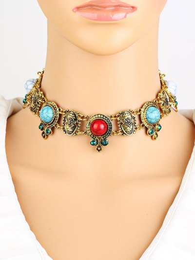 Rhinestone Faux Turquoise Necklace - GOLDEN  Mobile