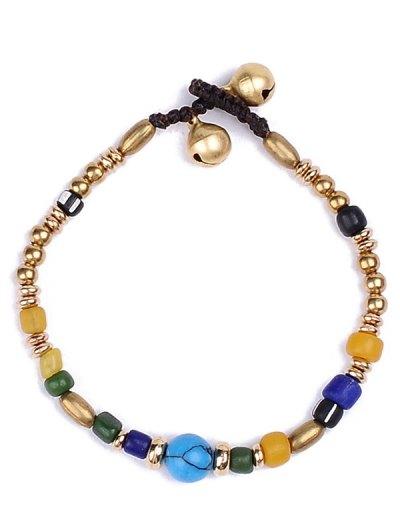 Natural Stone Braid Beads Bracelet - GOLDEN  Mobile