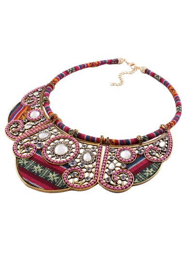 Rhinestone Floral Faux Collar Necklace - GOLDEN  Mobile