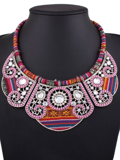 Rhinestone Floral Faux Collar Necklace - SILVER  Mobile