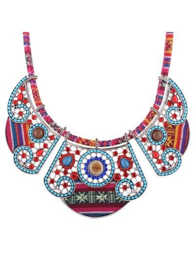 Rhinestone Blossom Faux Collar Necklace - SILVER  Mobile