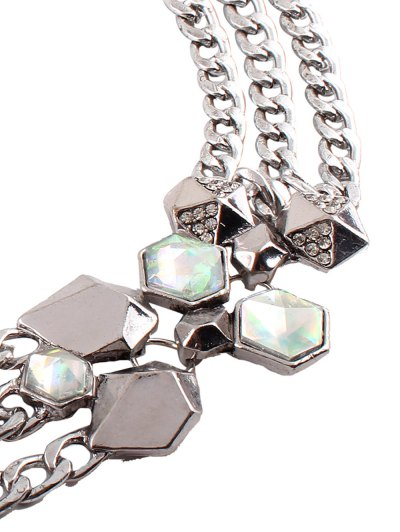 Alloy Rhinestone Geometric Chain Necklace - SILVER  Mobile