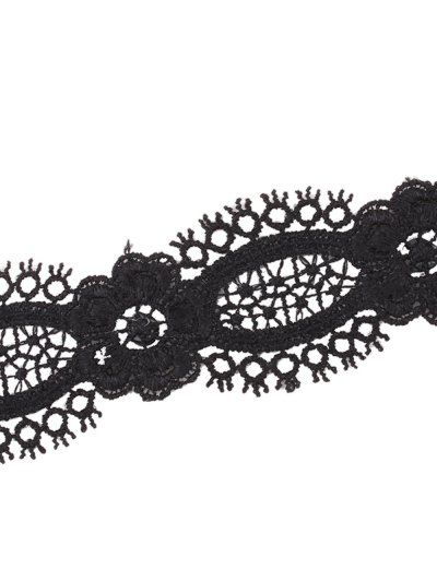 Openwork Lace Flower Choker - BLACK  Mobile