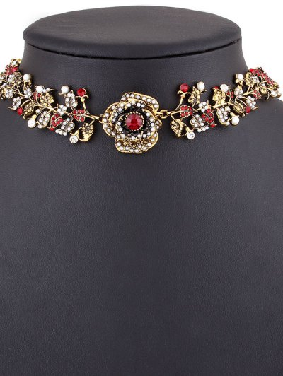Rhinestone Artificial Pearl Rose Floral Necklace - GOLDEN  Mobile