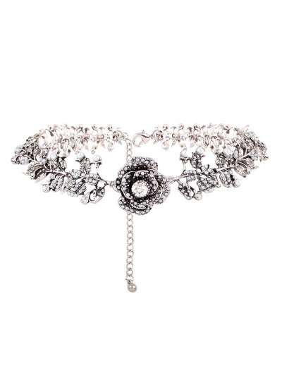 Rhinestone Artificial Pearl Rose Floral Necklace - SILVER  Mobile
