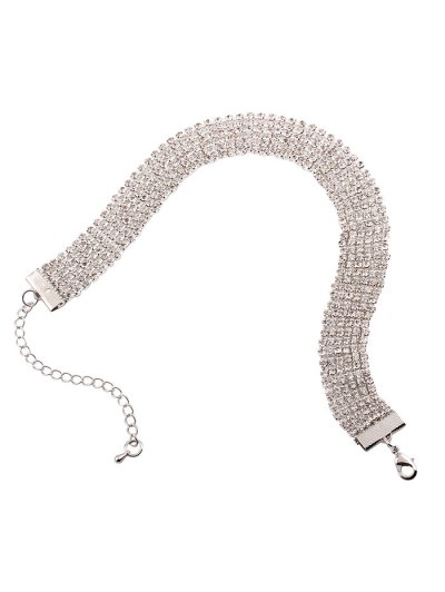 Adorn Rhinestone Necklace - WHITE  Mobile
