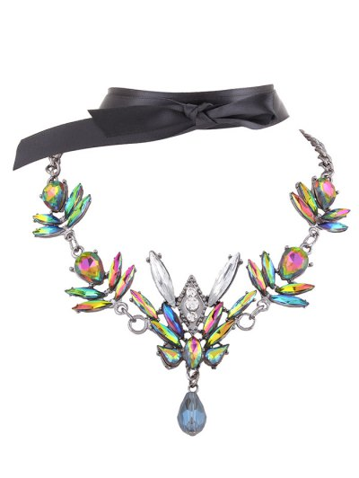 Artificial Gem Necklace with Ribbon Choker - GREEN  Mobile