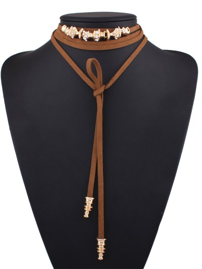 Artificial Leather Rope Rhinestone Choker - BROWN  Mobile