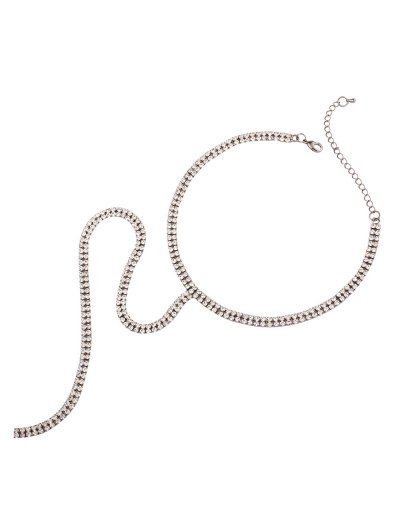 Alloy Long Rhinestoned Necklace - SILVER  Mobile