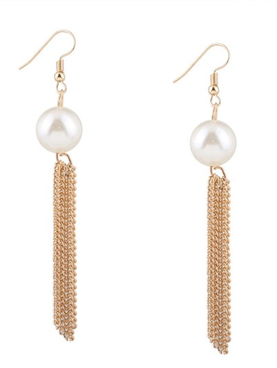 Chain Tassel Fake Pearl Necklace and Earrings - GOLDEN  Mobile
