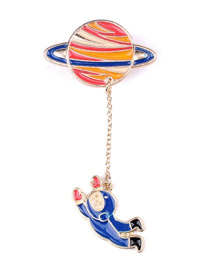 Moon Rocket Spaceman Star Brooch Set - COLORMIX  Mobile
