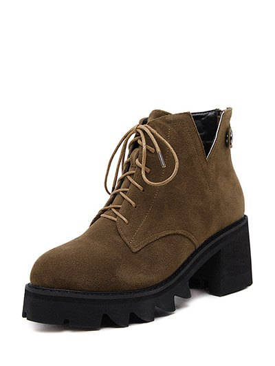 Slit Lace Up Chunky Heel Boots - DEEP BROWN 38 Mobile