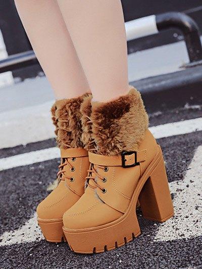 Faux Fur High Heel Short Boots - LIGHT BROWN 39 Mobile