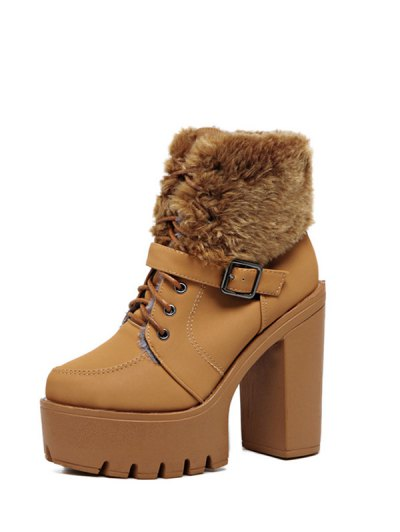 Faux Fur High Heel Short Boots - LIGHT BROWN 37 Mobile