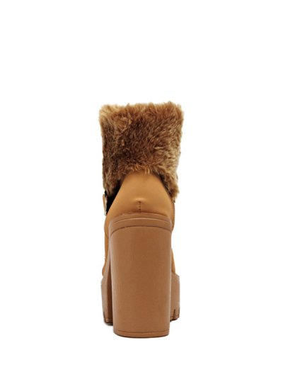 Faux Fur High Heel Short Boots - LIGHT BROWN 38 Mobile