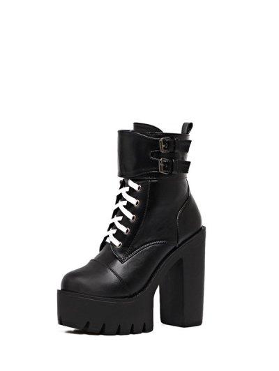 Buckle Straps High Heel Boots - BLACK 39 Mobile