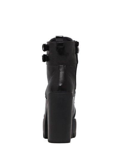 Buckle Straps High Heel Boots - BLACK 37 Mobile