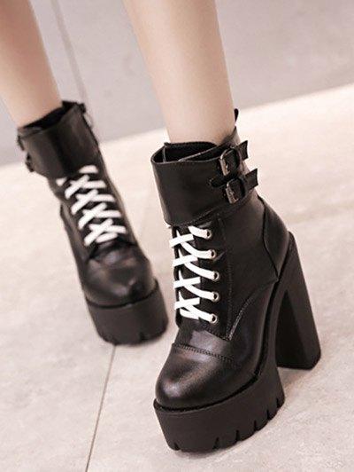 Buckle Straps High Heel Boots - BLACK 38 Mobile