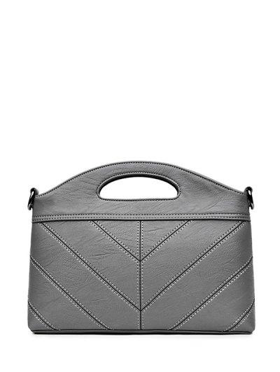 Stitching PU Leather Handbag - GRAY  Mobile
