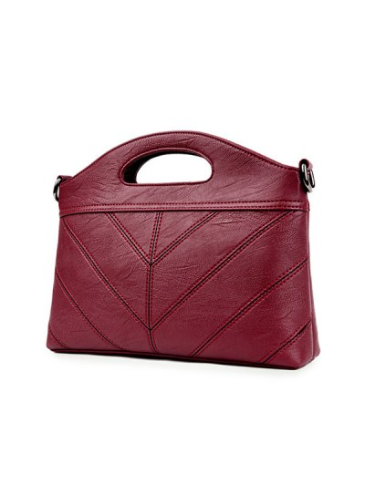 Stitching PU Leather Handbag - WINE RED  Mobile
