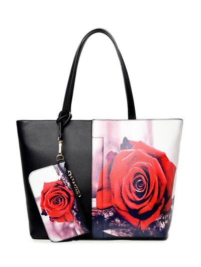Painted Shoulder Bag With Painted Wristlet - RED  Mobile