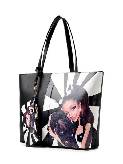 Painted Shoulder Bag With Painted Wristlet - WHITE AND BLACK  Mobile