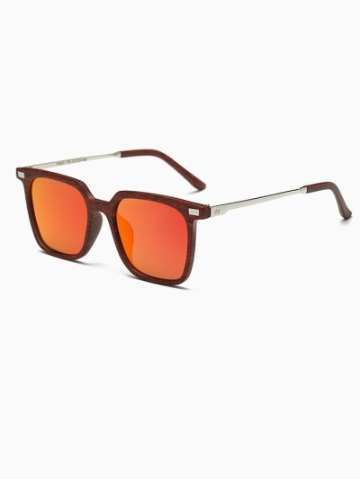 Square Mirrored Sunglasses - ORANGE RED  Mobile