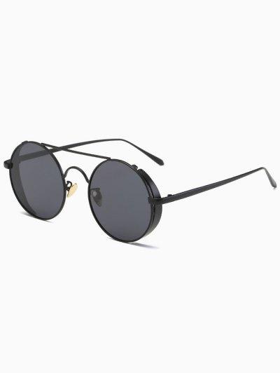 Crossbar Round Vintage Sunglasses - BLACK  Mobile