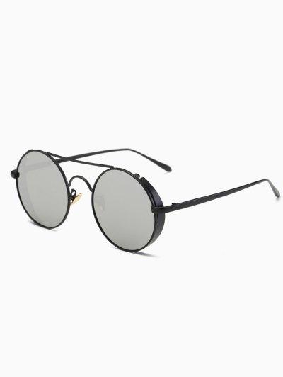 Crossbar Mirrored Round Sunglasses - BLACK  Mobile