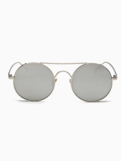 Crossbar Mirrored Round Sunglasses - SILVER  Mobile