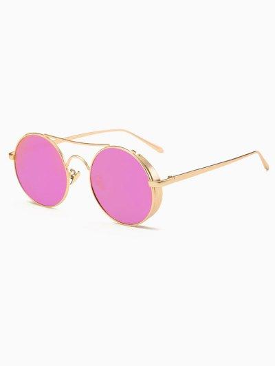 Crossbar Mirrored Round Sunglasses - PURPLE  Mobile