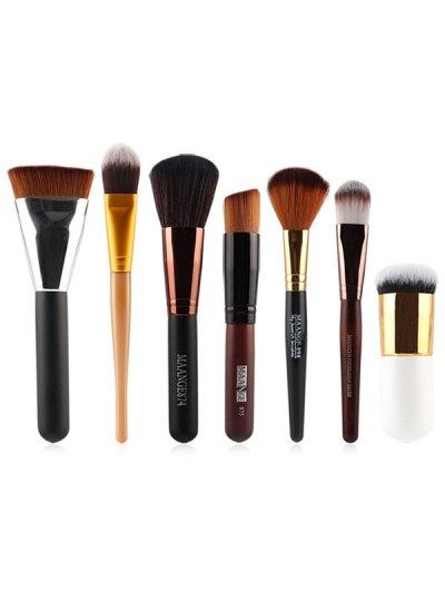 7 Pcs Nylon Face Makeup Brushes Set - BLACK  Mobile