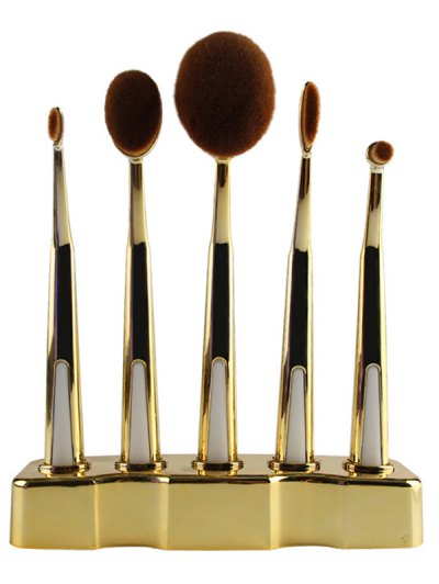 5 Pcs Nylon Makeup Brushes Set with Brush Stand - GOLDEN  Mobile