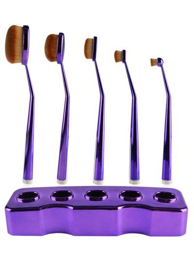 5 Pcs Nylon Makeup Brushes Set with Brush Stand - PURPLE  Mobile
