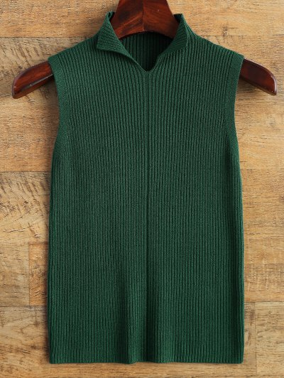 Mock Neck Ribbed Vest Sweater
