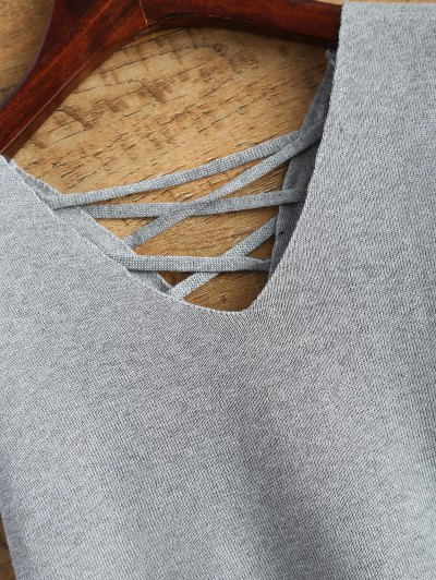 Lace-Up High-Low Vest Sweater - GRAY ONE SIZE Mobile