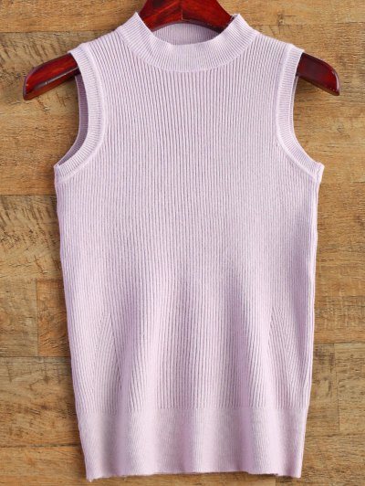 Sleeveless Ribbed Sweater - LIGHT PURPLE ONE SIZE Mobile