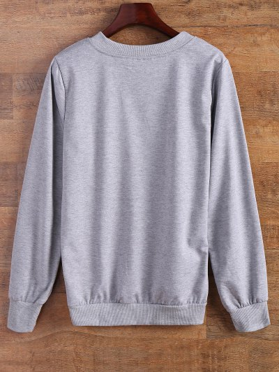 Sported Letter Sweatshirt - GRAY S Mobile