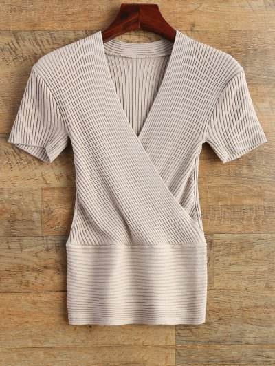 Knitting Wrap T-Shirt - APRICOT ONE SIZE Mobile