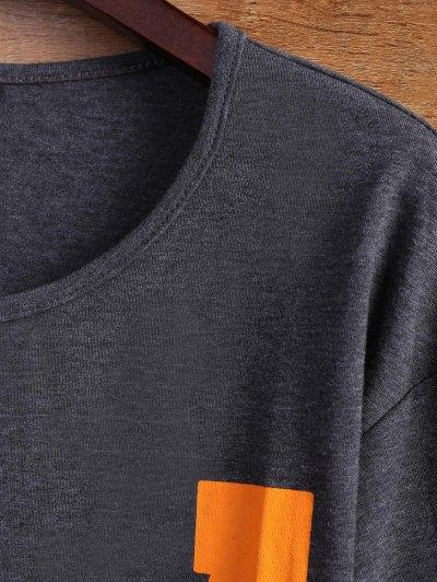 Letter Stripe T-Shirt - GRAY L Mobile