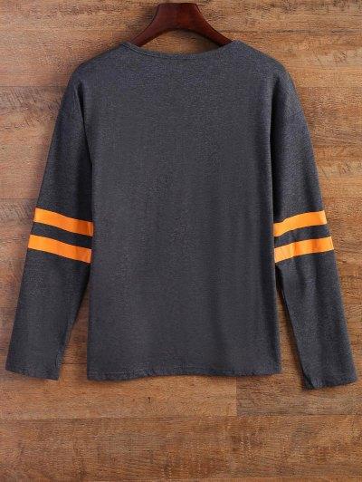 Letter Stripe T-Shirt - GRAY M Mobile