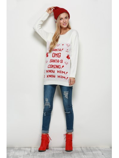 Crew Neck Pullover Christmas Sweater - WHITE L Mobile