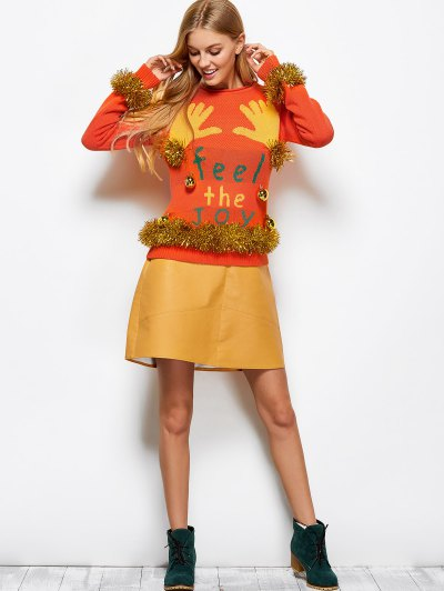 Christmas Jacquard Sweater - ORANGE RED XL Mobile